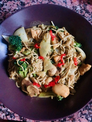 Coconut Curry Chicken and Vegetables with Low Carb Pasta